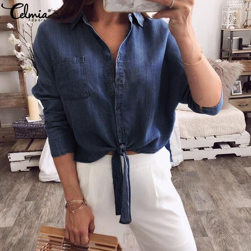9bc9d728ac33c US $12.79 Celmia Vintage Women Blouses 2019 Fashion Denim Blue Shirt ...