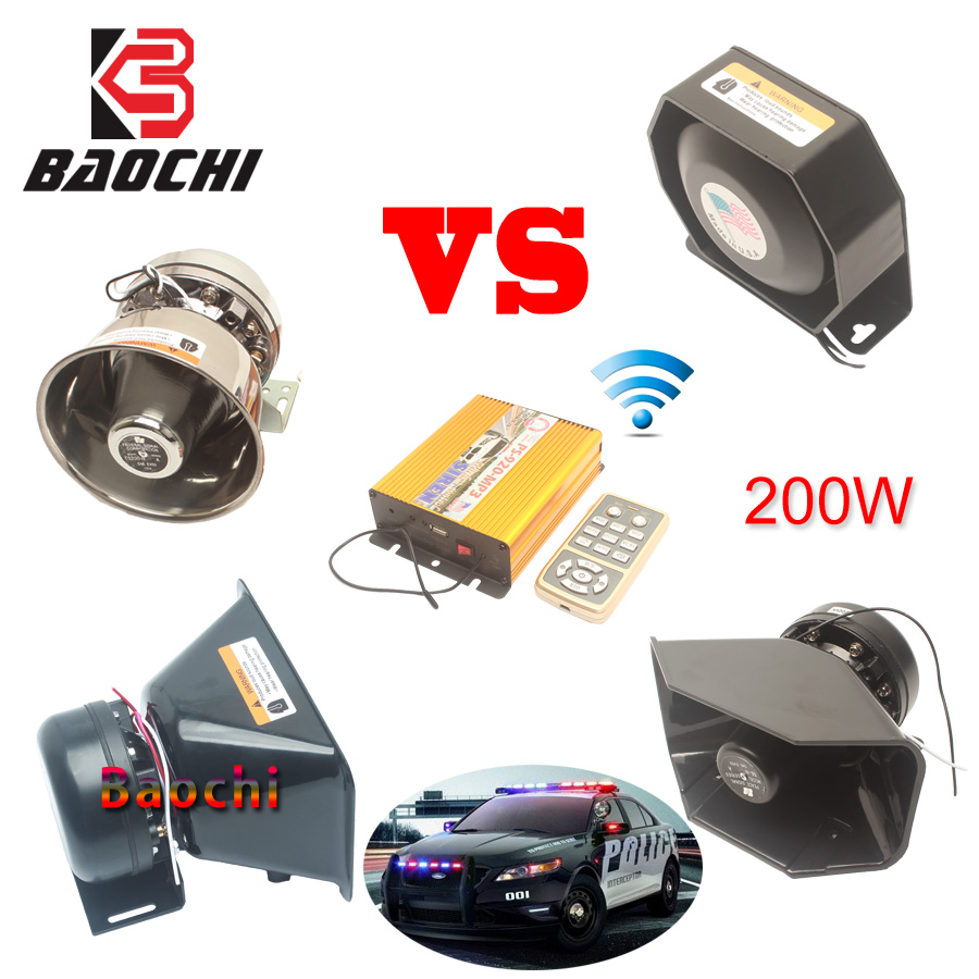 Car Wireless Alarm Siren Police Loud Speaker 200W Car Alarm Horn Police Speaker MIC System 12 Tone Megaphone Police Siren Horns in Multi tone Claxon Horns from Automobiles Motorcycles