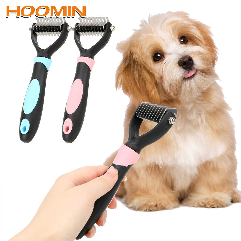 HOOMIN Pet Fur Knot Cutter Dog Grooming Shedding Rake Dog Cat Hair Removal Comb Pet Brush Grooming Tool