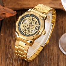 лучшая цена WINNER Luxury Gold Bezel Watch Skeleton Mechanical Watches Top Brand Luxury Men's Clock Men Automatic Wrist Watch saat erkekler