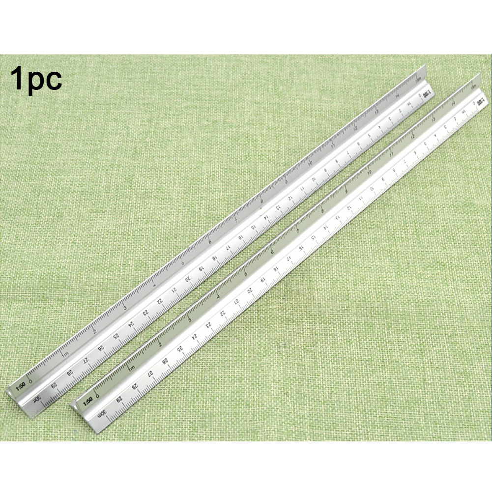 30cm Metal Silver Architect Technical Triangle Ruler Scale Clear Engineer Accurate Aluminum Alloy #1108