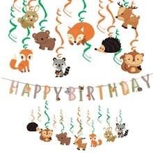 Jungle Party Animal Decorations Happy Birthday Banner Hanging swirls Kids Spring Summer Supplies