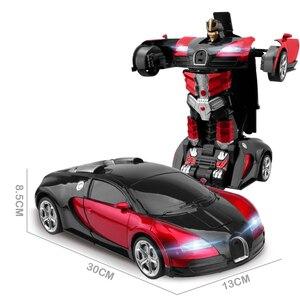 Image 4 - 2,4 Ghz Индукционная Трансформация Робот автомобиль 1:14 деформация RC автомобиль игрушка светодиодный светильник Электрический робот модели fightent игрушки подарки