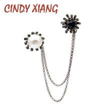 CINDY XIANG Rhinestone Flower Brooches Women and Men Pin Brooch Vintage Pearl Double Pins Fashion Jewelry Coat Accessories Gift cindy xiang brooches for women simple flower fashion pins for lady meeting jewelry coat office accessories friend s gift 2018
