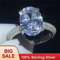 Deluxe обещание кольцо 100% Soild 925 пробы серебро овальной огранки 4ct AAAAA Сона Cz обручение обручальное для wo для мужчин ювелирные изделия