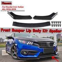 Комплект из 3 предметов из углеродного волокна/Черный Автомобильный передний нижний бампер для губ, диффузор, спойлер для Honda Для Civic Sedan 4Dr