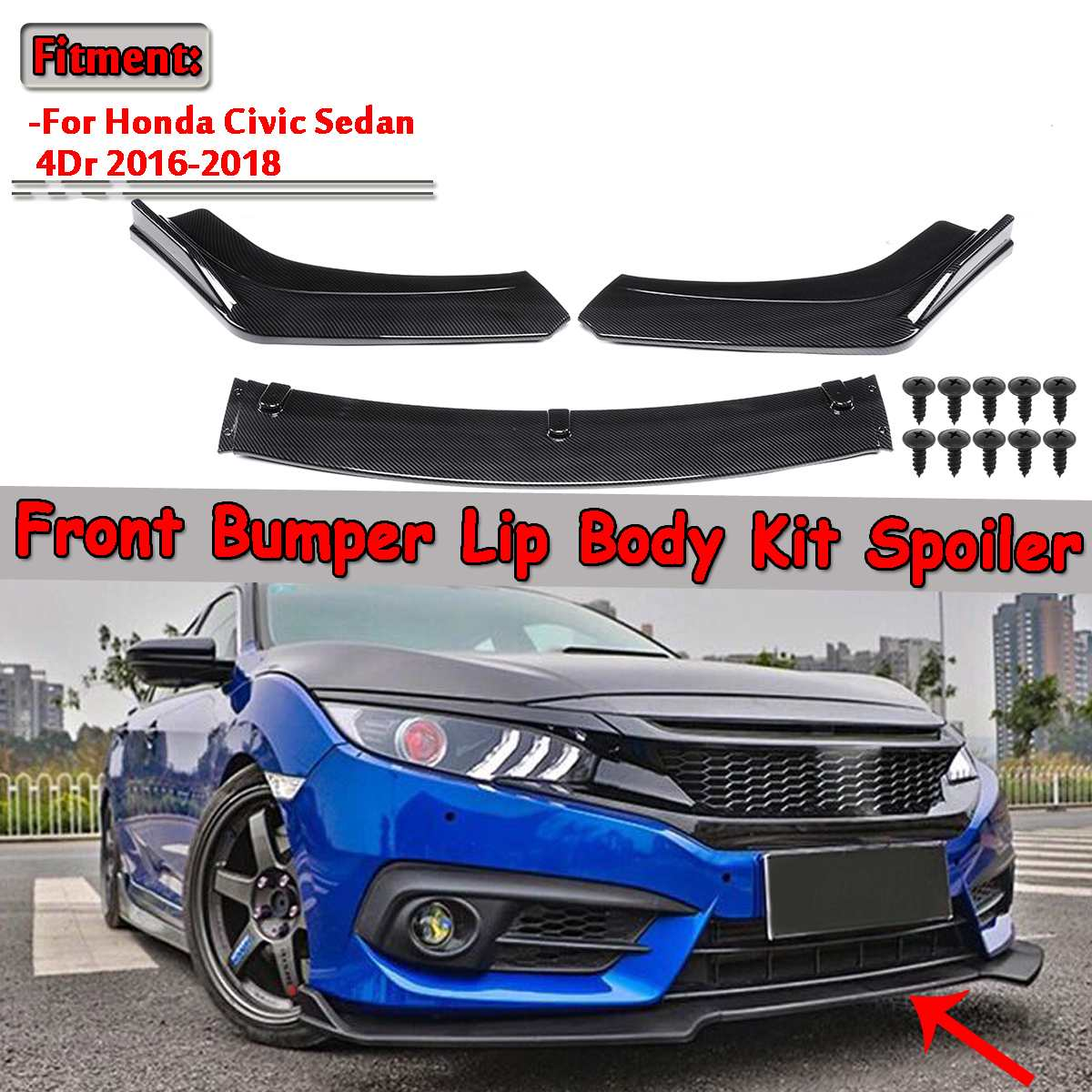 3 Pezzo in Fibra di Carbonio Look/Black Car Anteriore Inferiore Del Paraurti Lip Diffusore Spoiler Body Kit per Honda Civic berlina 4Dr 2016 2017 2018
