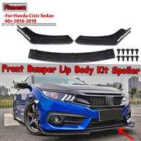 3piece Carbon Fiber Look/Black Car Front Lower Bumper Lip Diffuser Spoiler Body Kit For Honda For Civic Sedan 4Dr 2016 2017 2018