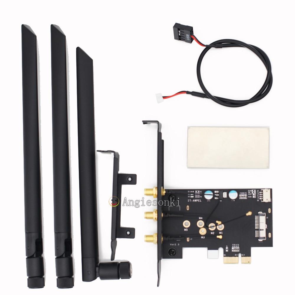BCM94360CSAX /BCM943602CS / BCM94331csax WLAN Card To PCI-e 1x 16x Desktop PC WIFI WLAN Card Adapter()