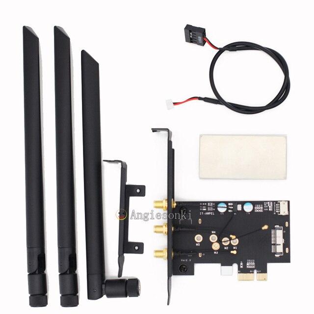 BCM94360CSAX /BCM943602CS / BCM94331csax WLAN Card To PCI e 1x 16x Desktop PC WIFI WLAN Card Adapter()