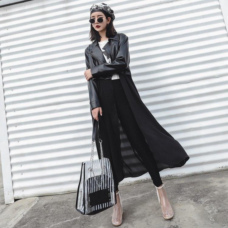 Autumn Women Black Slim PU   Leather   Jackets Sweet Female Zipper Faux   Leather   Outwear Cool Chiffon Patchwork Coat Femme