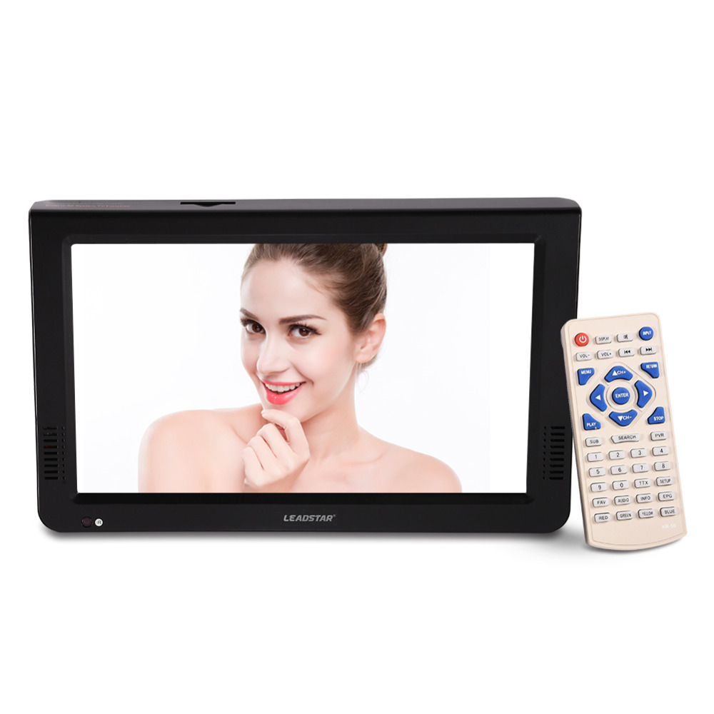 LEADSTAR 10 inch DVB-T-T2 Digital Analog Television 1024x600 Resolution Color NTSC 50Hz Portable Car Mini TV Support TF card 2018 hot sale 7 inch high resolution tv color tft led dvb t t2 digital analog television rechargeable 800x480 portable tv