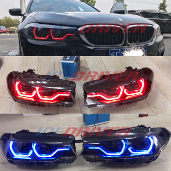 Icedriver for BMW 5 series Angel Eyes DRL RGB multicolor LED boards F10 F11 F18 G30 daytime running lights Red Blue Demon Eye