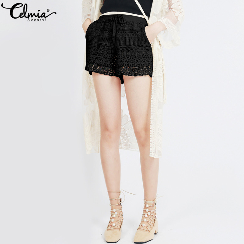 Celmia 2019 Summer New Fashion Women Shorts Loose High Waist Shorts Splicing Lace Shorts feminino Casual Drawstring Sexy Bottoms