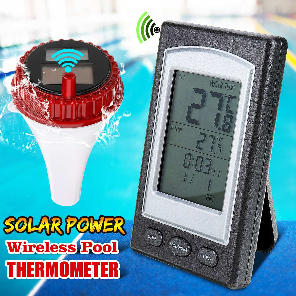 Float Solar Sensor Pool Thermometer Wireless Swimming Pool Spa Hot Tub Bath Water Temperature Receiver Thermometer