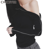 CHICEVER Knitting Top Female Women's Sweatshirts Knitted Pullover Zipper Long Sleeve Turtleneck Sexy Off Shoulder Tops Korean