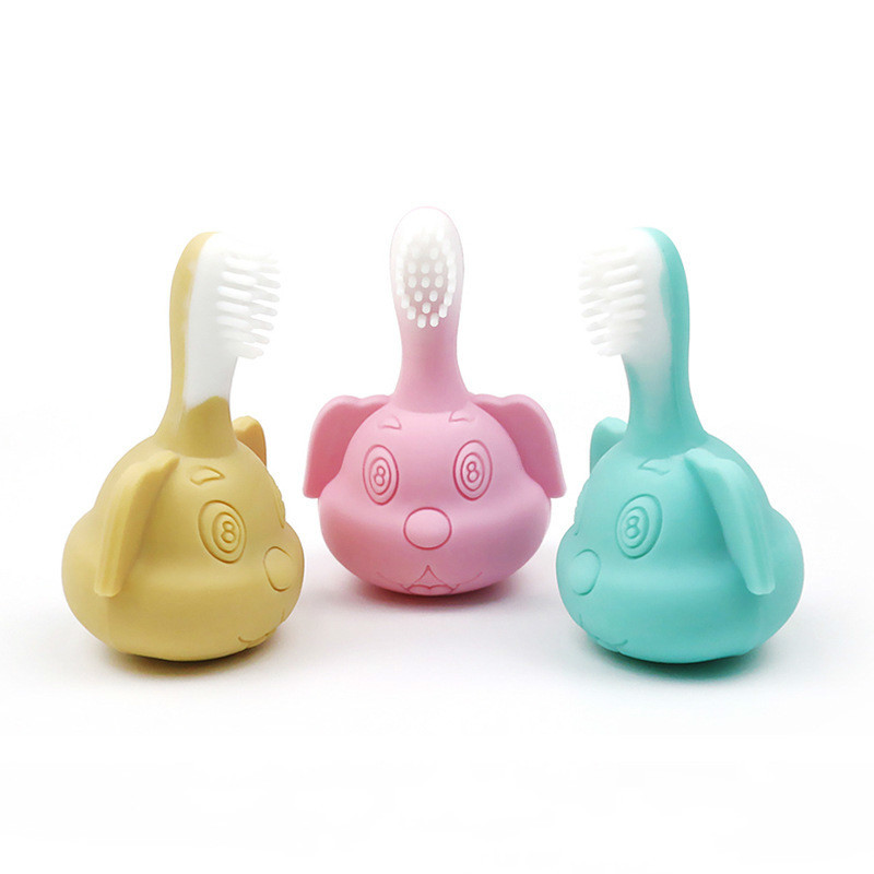 Cute and healthy silicone Baby Silica Gel Puppy Toothbrush A Molar Tooth Good Silica Gel Bit Music Baby Toys Molar tooth gel