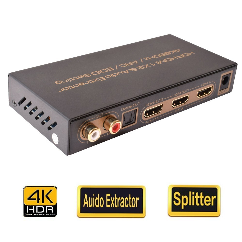 HDR 2 Port 1x2 HDMI 2 0 Splitter 1 In 2 Out HDMI Auido Extractor Combo