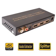HDR 2 Port 1×2 HDMI 2.0 Splitter 1 In 2 Out HDMI Auido Extractor Combo Analog Digital Audio Converter ARC L/R SPDIF/Toslink HDCP