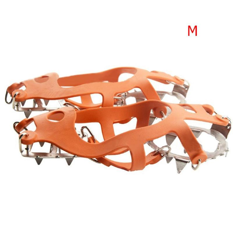 1 Pair 18 Tooth Spikes for Shoes Professional Climbing Crampon Anti Skid Ice Shoes Spikes Snow Camping Grip Outdoor Equipment in Climbing Accessories from Sports Entertainment