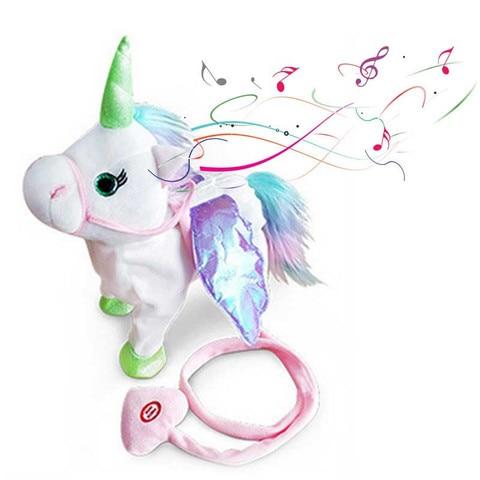 33cm eletrica andando unicornio brinquedo de pelucia brinquedo de pelucia musica eletronica para criancas presentes