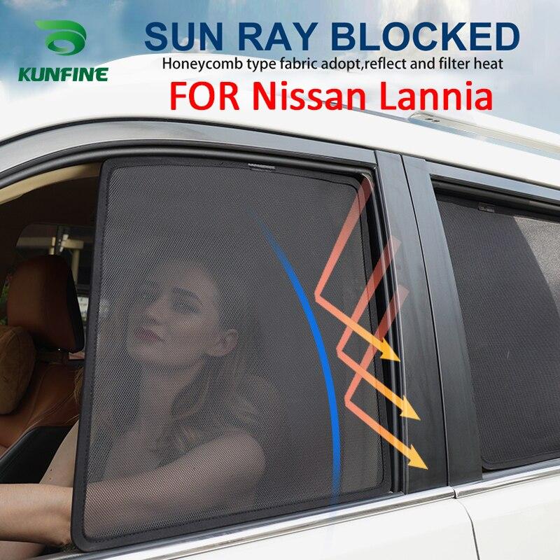 4 pièces/ensemble magnétique voiture fenêtre latérale pare-soleil maille ombre aveugle pour Nissan Lannia voiture fenêtre Curtian noir