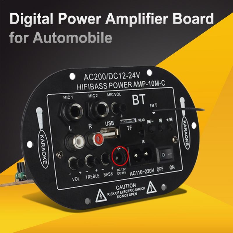 Bluetooth Vehicle Digital Amplifier Mono-channel Amplifier Board 8 Inches 10 Inches 12V 24V 220V Tri-purpose SF-2MIC