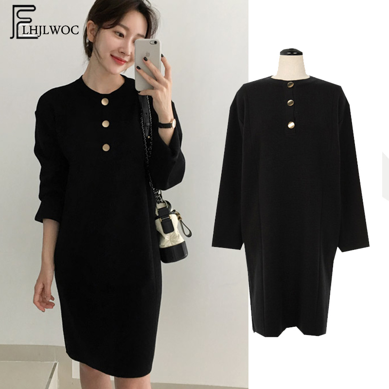4d9752b68a 2019 Design Black Knit Dresses Hot Sales Women Korean Style Long Sleeve  Casual Loose Temperament Lady