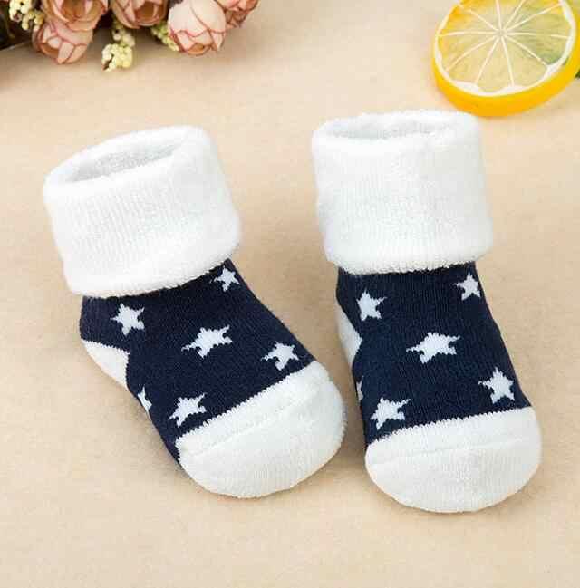 MAYA STEPAN 1 Pair Newborn Cotton Winter Autumn Infant Striped Terry Warm Slippers Star Dot Children Baby Girls Boys Kids Socks