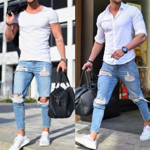 Hirigin Fashion Men Jeans Men's Ripped Skinny Biker Jeans Destroyed Frayed Slim Fit Denim Pants Biker Jean