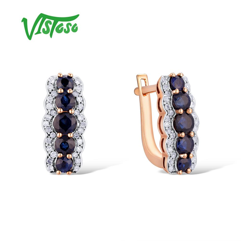 VISTOSO Gold Earrings For Women 14K 585 Rose Gold Sparkling Blue Sapphire Diamond Wedding Band Engagement Trendy Fine Jewelry