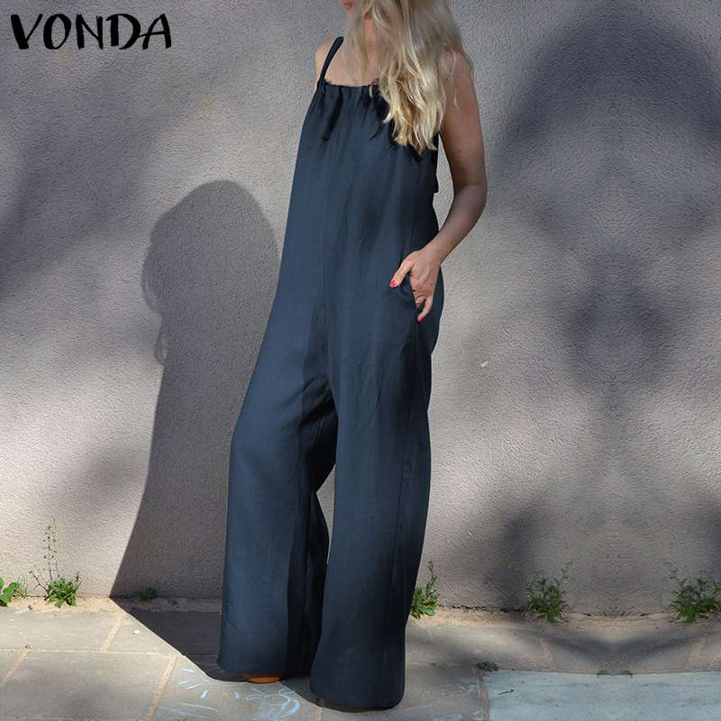 VONDA Brand Rompers Womens   Jumpsuits   2019 Summer Sexy Sleeveless Cotton Long Playsuit Casual Loose Wide Leg Pants Overalls
