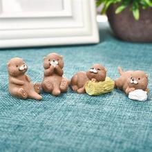 4pcs/Set Otter Animal Model Simulation Figurine Craft Home Decor Miniature Fairy Garden Decoration DIY Accessories