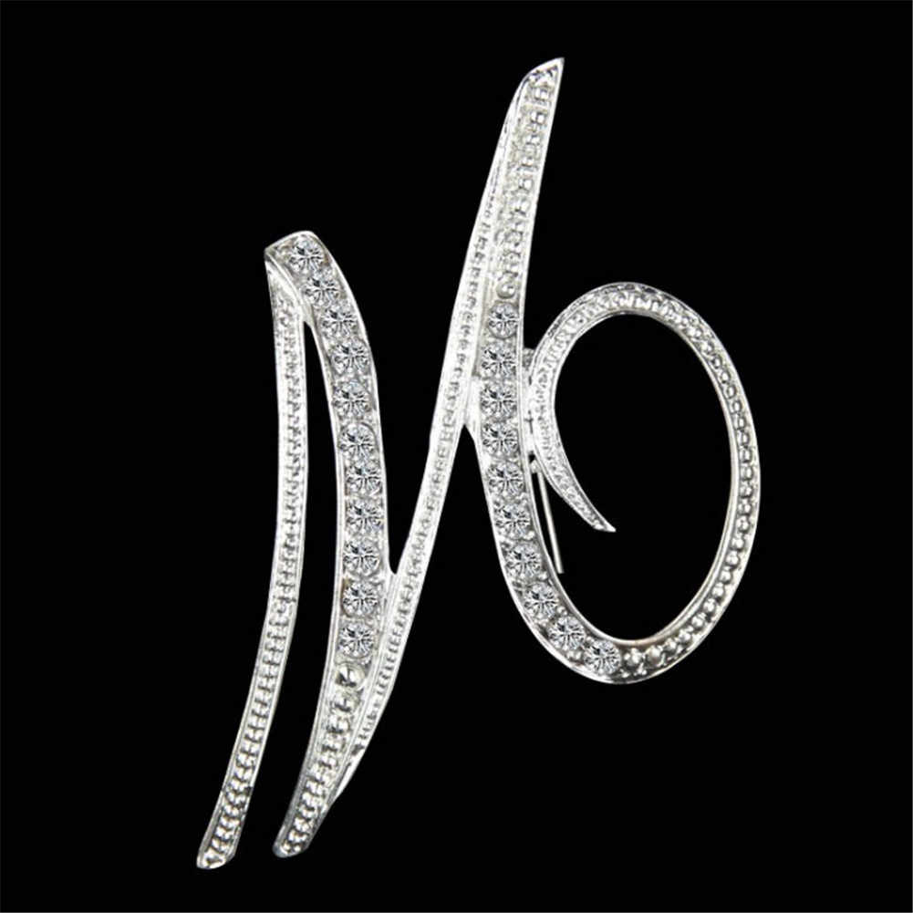 1PCS Brooches Best Alphabet Letter A-Z Silver-Tone Initial Letter Brooches Fashion Brooch Pin Crystal Brooches Elegant Jewelry