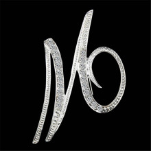 1PCS Brooches Best Alphabet Letter A-Z Silver-Tone Initial Fashion Brooch Pin Crystal Elegant Jewelry