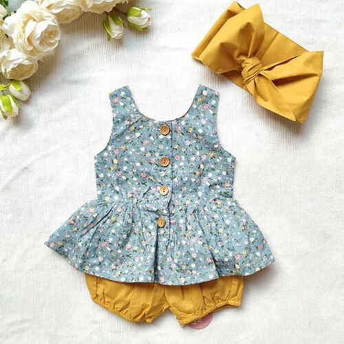 Newborn Baby Girl Summer Outfits Floral Sleeveless Button Down Ruffle Dress Top+Shorts Pants+Headbands Clothes Set  0-24M