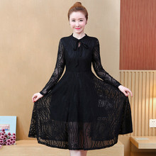 Spring Fashion O Neck Lace Dress Women Long Sleeve Elegant Sexy Hollow Out Ladies Dresses Casual Office Party Dress Plus Size цена и фото
