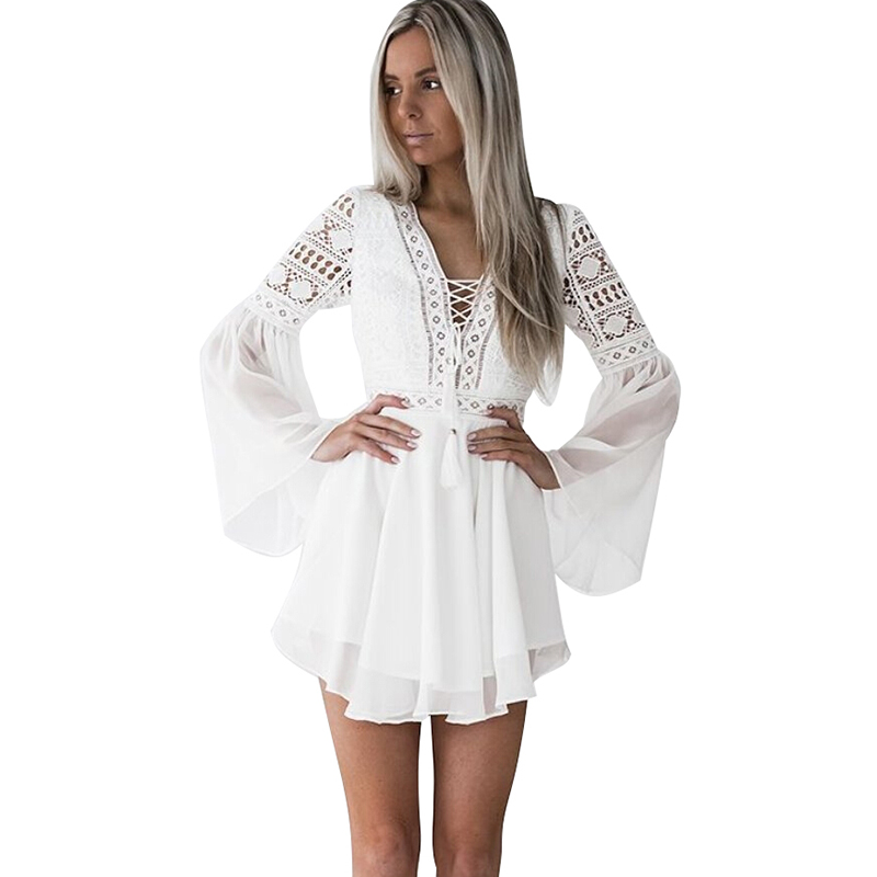 Sexy Women Mini Dress Criss Cross Bandage Lace Semi-sheer Hollow Out Dress Plunge V-Neck Long Sleeve Black/White Chiffon Dress semi formal summer dresses