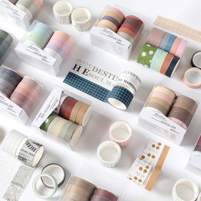 10Pcs/Set Cute Grid Washi Tape SetDecorative Adhesive Tape  Kawaii Masking Tape For Kids DIY Scrapbooking Diary Photos Albums 1
