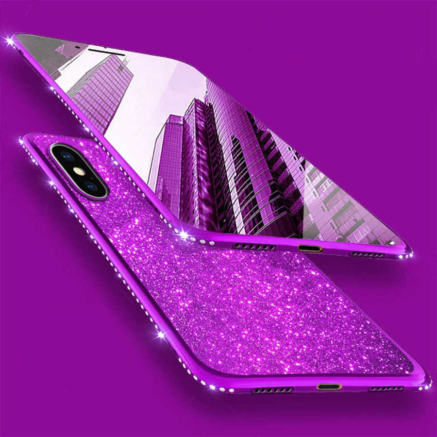Rhinestone Diamond Glitter Powder Case For iPhone XS Max XR 6 6S 7 8 Plus Samsung Note 9 8 S10 S9 S8 Plus M10 M20 A10 A30 Cover
