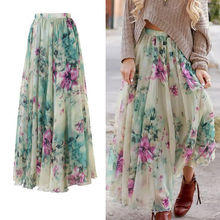 2019 Fashion Boho Women Flower Long Skirt Summer Floral Chiffon Flared Pleated Beach Sunny Skirts Clothing