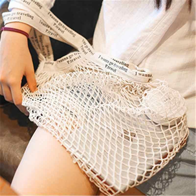 70d164a6693 Net Mesh Shopping Bag Pure Cotton Shopping Bags European American Style  Fashion Purse Shopper Bag For Women Ladies Girls Purse