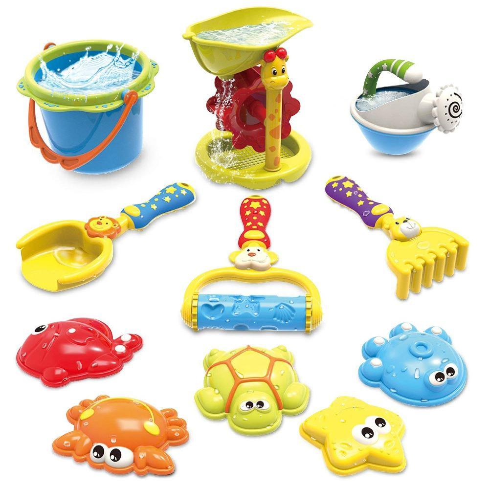 LeadingStar 11Pcs/Set Kids Baby Large Sandglass Shovel Rake Hourglass Beach Playing Toys Set Role Play Toy Kit