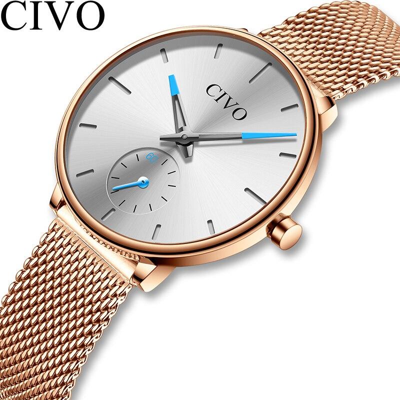 CIVO étanche en acier blanc maille bracelet femmes montres de luxe Quartz dames montres décontracté femmes horloge Montre Femme