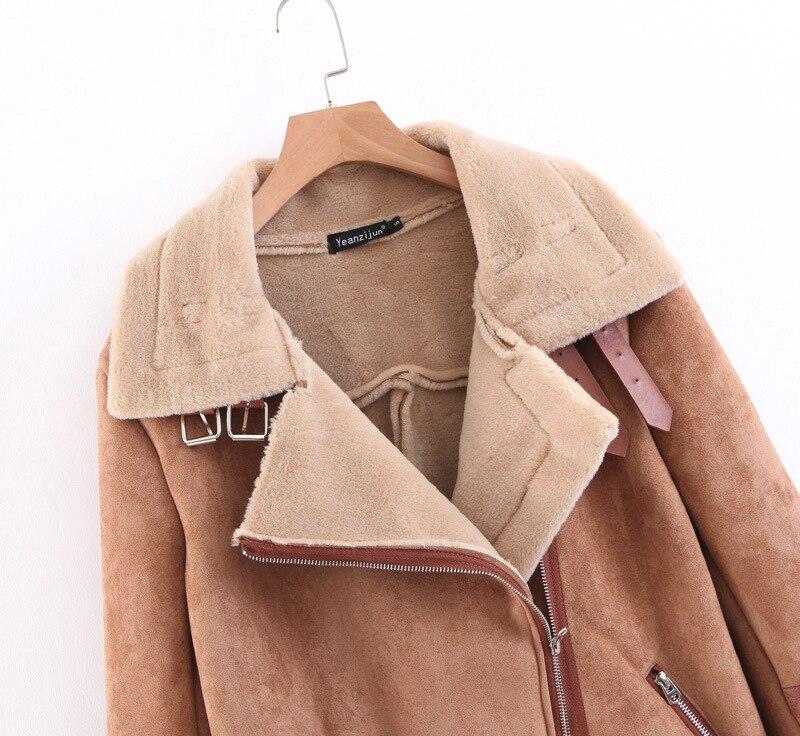 Style Top Chaud Zipper À Femmes Moto Avec Nouvelle De Fourrure Coat Ceinture Veste L'intérieur Brown Hiver 6aqvwH