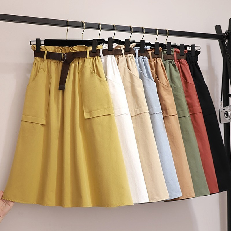PEONFLY Midi Long Skirts Women Fashion Autumn High Waist Skirt Female Elegant Knee Length School Girls Skirt  2019 Summer