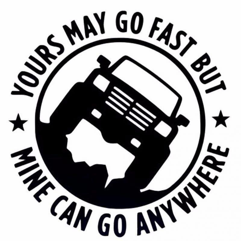 Reflective 15CM*15CM Creative 4X4 YOURS MAY GO FAST MINE CAN GO ANYWHERE Funny Car Stickers Automobiles Accessories