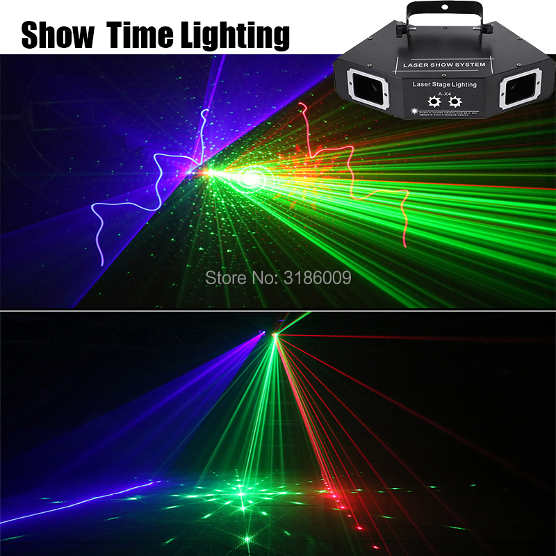 Showtime DMX 4 Lens RGB Red Green Blue Beam Pattern Network Laser Light Home PRO DJ Show KTV Scanner Club Stage Lighting A-X4