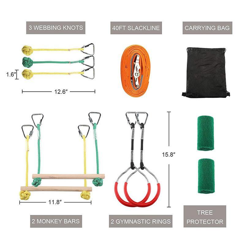 Obstacles pour enfants anneau de fronde singe pôle extérieur entraînement physique combinaison Portable 40 pieds Slackline Kit de Bar enfants