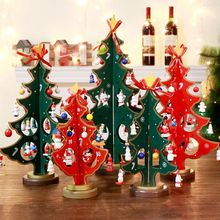 Mini Christmas Tree Decorations Double Wooden Ornaments Crafts Kids Gift New Year